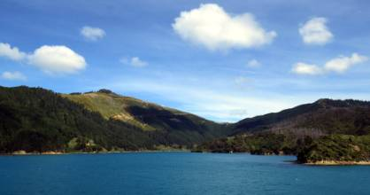 The Interislander ferry trip feels like a cruise, with beautiful views of the Marlborough Sounds.