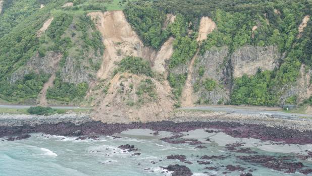 Damage to roads on the Kaikoura coast.