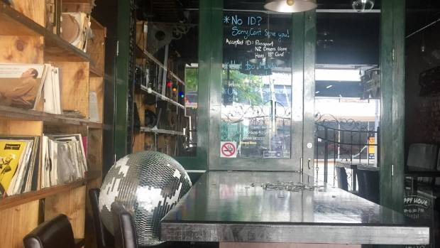 A tumbled disco ball at Vinyl Bar tells a story of a shaky night on Courtenay Place, Wellington.