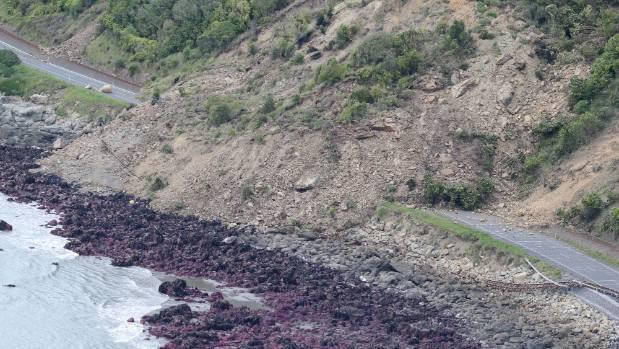 Huge slips block State Highway One north of Kaikoura.