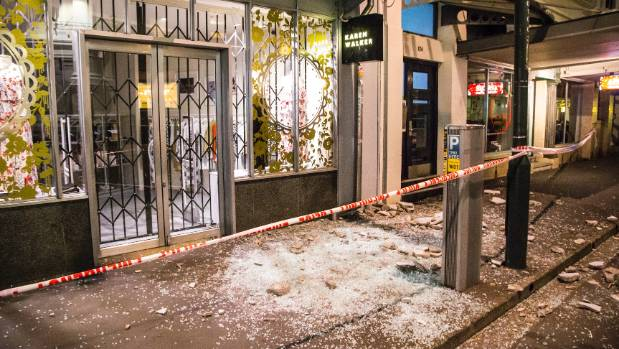 Quake damage on Wellington's Wakefield St.