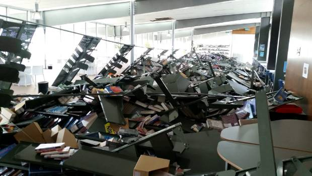 Damage at Whitireia's Porirua campus, north of Wellington.