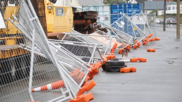 Construction fences are down along Lyall Bay parade in Wellington, following Monday's large  earthquake and a night of ...