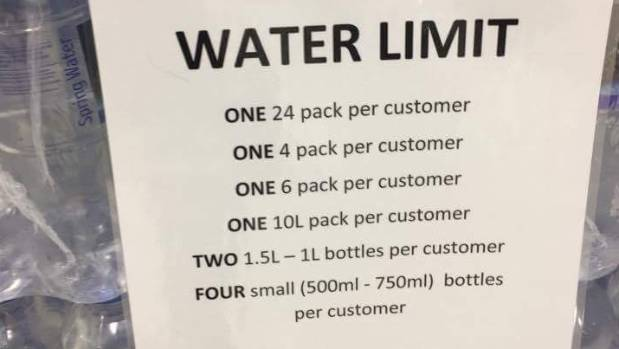 Some supermarkets took precautions as water stocks ran low.