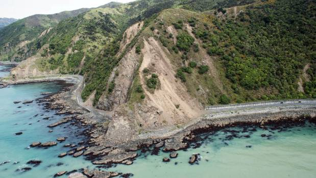 Landslides block State Highway 1 near Kaikoura.