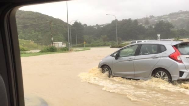 Flooding in Paremata, Porirua, Wellington. Drivers need to take care.