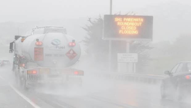 Wild weather has seen the closure of the Paremata roundabout, north of Wellington.