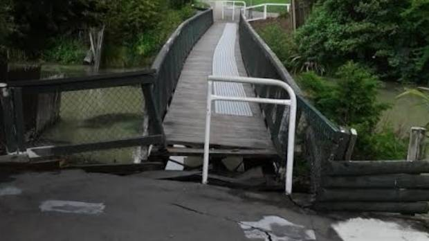 Dillion's Point footbridge in Marlborough is closed due to quake damage.