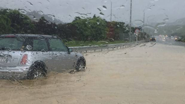 Megan du Plessis' Mini Cooper marooned at the Plimmerton roundabout on Tuesday morning.