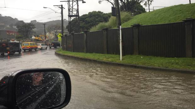 Surface flooding is slowing down traffic at the Basin Reserve, Wellington.