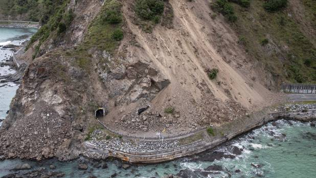 Huge slips have come down across SH1 south of Kaikoura.