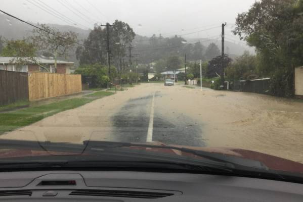 Flooding on Horoeka Street and Lowery Cres, Stokes Valley, Wellington.