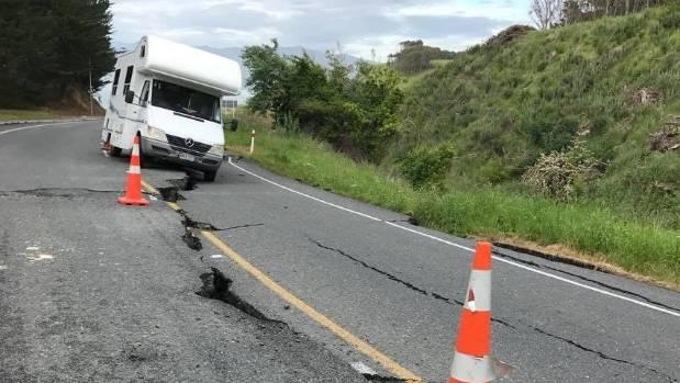The newlyweds took photos of the damage around Kaikoura.