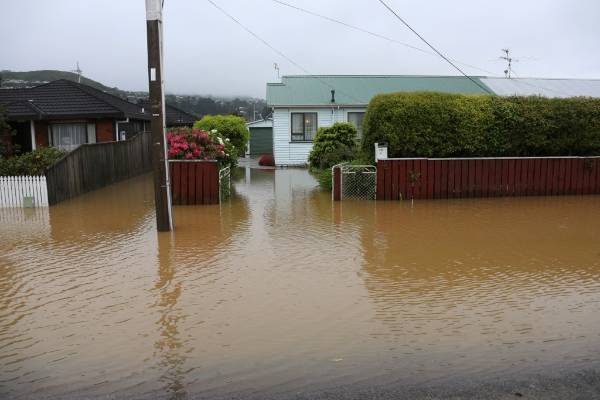 Wellington has been hit by torrential rain and gale-forced winds in the wake of the earthquakes.