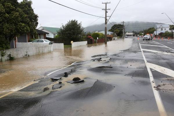 Flooding in Uday St, Petone.
