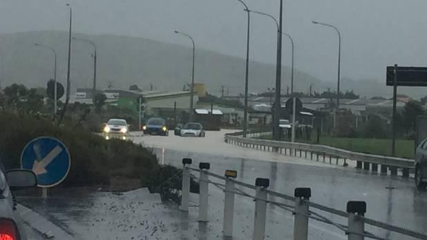 Flooding at Wellington's Mana roundabout.