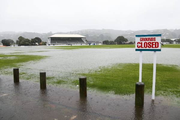 Flood water covers Petone Recreation Ground.
