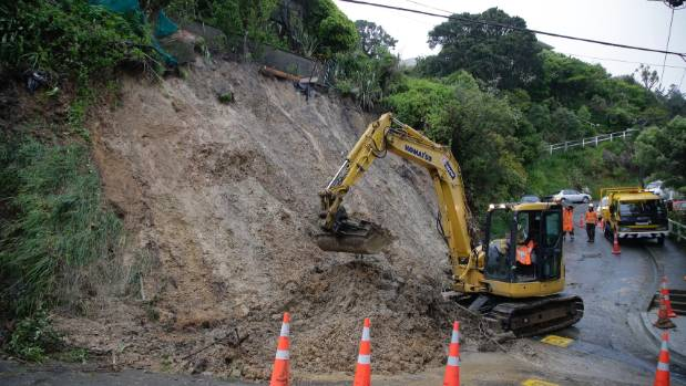 Durham St and Durham Cres, in Te Aro, Wellington, are inaccessible due to this huge slip.