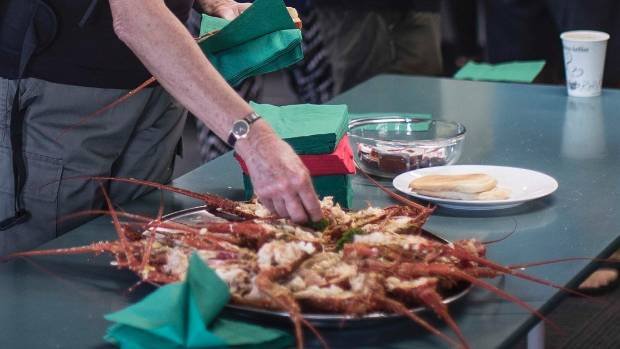The Takahanga Marae put on a breakfast feed of 1.5 tonne of crayfish for locals and tourists.