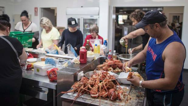 At Takahanga Marae, volunteers and employees from quake-affected businesses joined forces to serve food to hundreds of ...