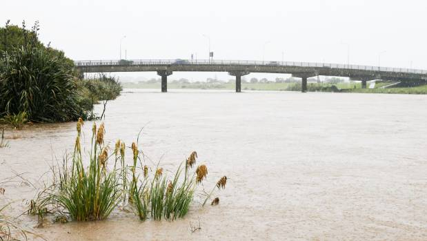 The Hutt River swells with flood water after a bout of severe weather.