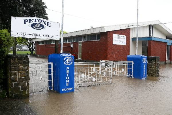 Petone Rugby Club is surrounded by water after torrential rain and gale-force winds.