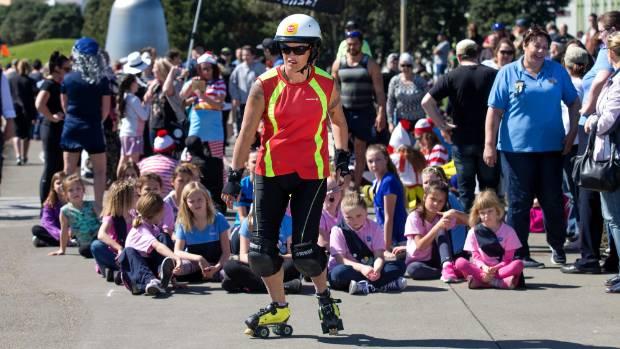 Roller Corps member Chrissi Phillips-Ryburn practiced her moves before filming began.