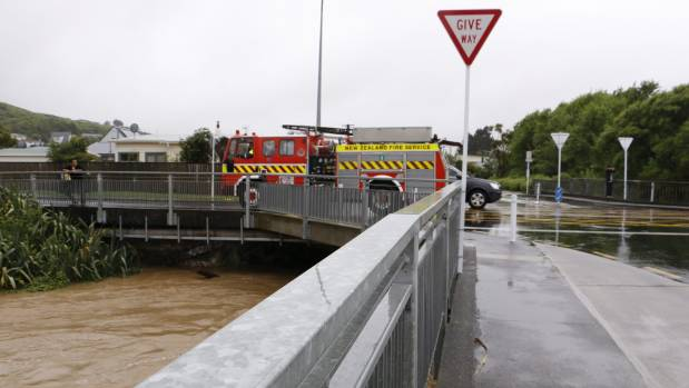 Flooding in Porirua at Collins Ave on midday Tuesday.