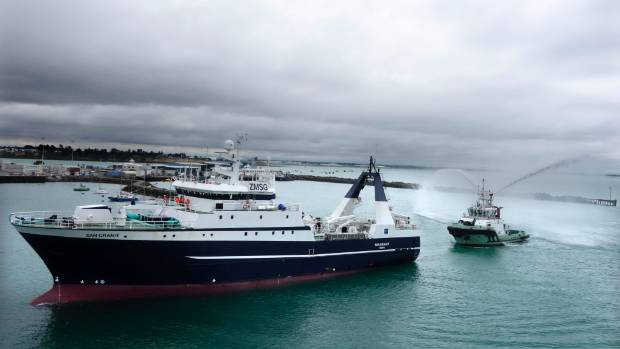 The new Sanford vessel, the San Granit, sailed into the Timaru port for the first time at midday flanked by two tugs ...