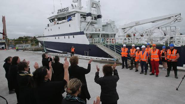 Local iwi welcomed the captain and his crew as they disembarked the new vessel with traditional Maori song and greetings.