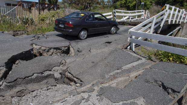 A bridge in Kaikoura mangled in the quake.