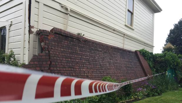 Katherine Mansfield House in the inner city Wellington suburb of Thorndon has been cordoned off after an old wall - ...