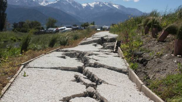 Damaged footpath in Kaikoura.