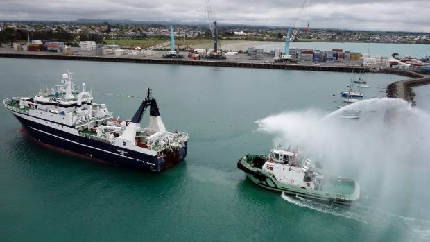 The ship leading one of the tugs into the Port of Timaru.