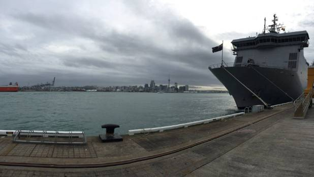 The HMNZS Canterbury berthed at Devonport, Auckland, before heading to Kaikoura to pick up stranded tourists.