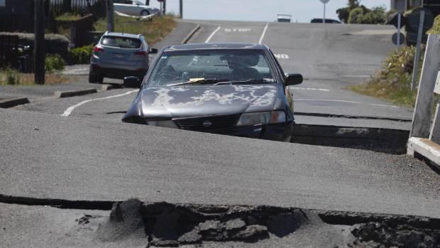 Major earthquake in Canterbury. Broken bridge in Kaikoura.