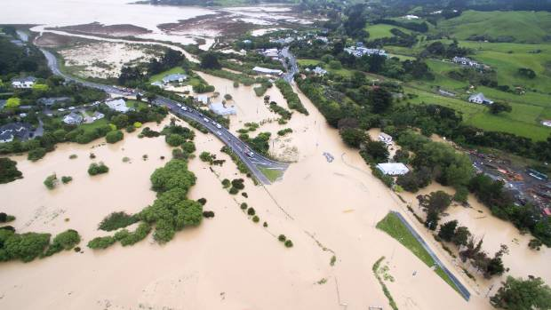 Flooding blocks roads around the Pauatahanui inlet north of Wellington.