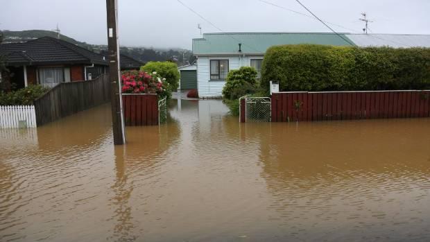 Devastating floods hit Uday St in Petone.