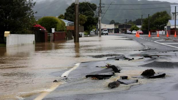 Flooding in Uday St, Petone.
