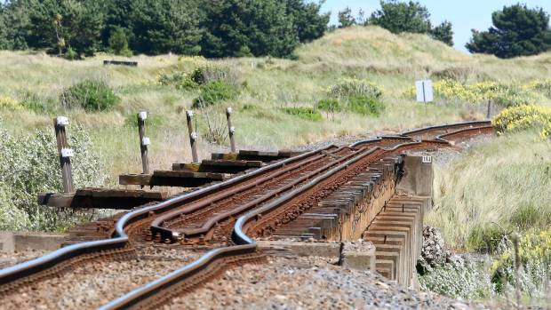 Railway lines buckled and broken at the Ure Bridge in Marlborough.