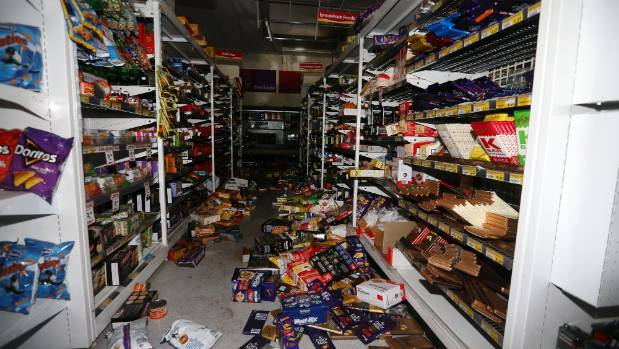 Groceries have been knocked from the shelves at Seddon Supervalue.