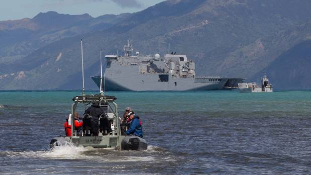 Travellers stranded in Kaikoura after the 7.5 earthquake are being evacuated by the NZ Navy.