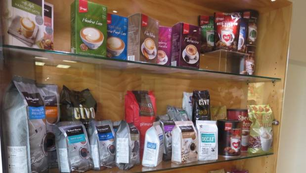 Coffee products on display at Cerebos Gregg's Dunedin factory.