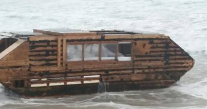 The make-shift boat with a note inside was relatively intact after crossing the Atlantic Ocean.