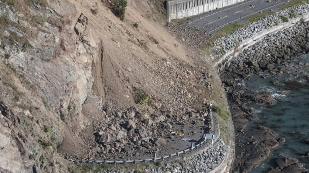 A slip south of Kaikoura on SH1 following Monday's earthquake.