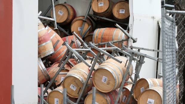 Damage to a barrel hall at Constellation Brands' winery at the Riverlands Industrial Estate, south of Blenheim.