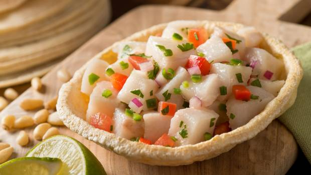 Ceviche, a popular seafood dish in South America.