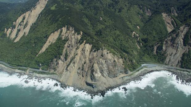 An aerial image of slips north of Kaikoura after the earthquake.