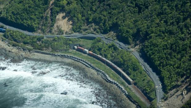 Aerial images of Kaikoura after the earthquake.The freight train halted by the quake just north of the township.