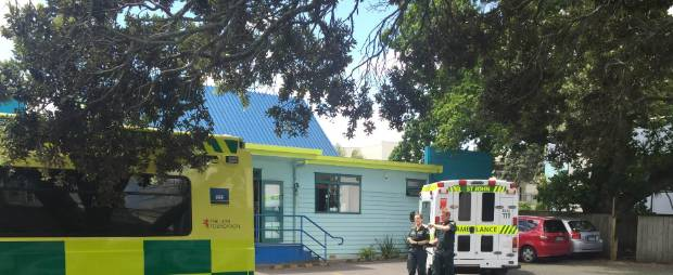 Ambulances outside Angels Childcare centre in Takapuna, Auckland, collecting the body of four-year-old Aldrich Viju.